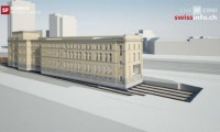 Edifício Movido em Carris na Suíça