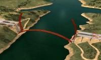 Construção da ponte metálica em arco de Alconétar
